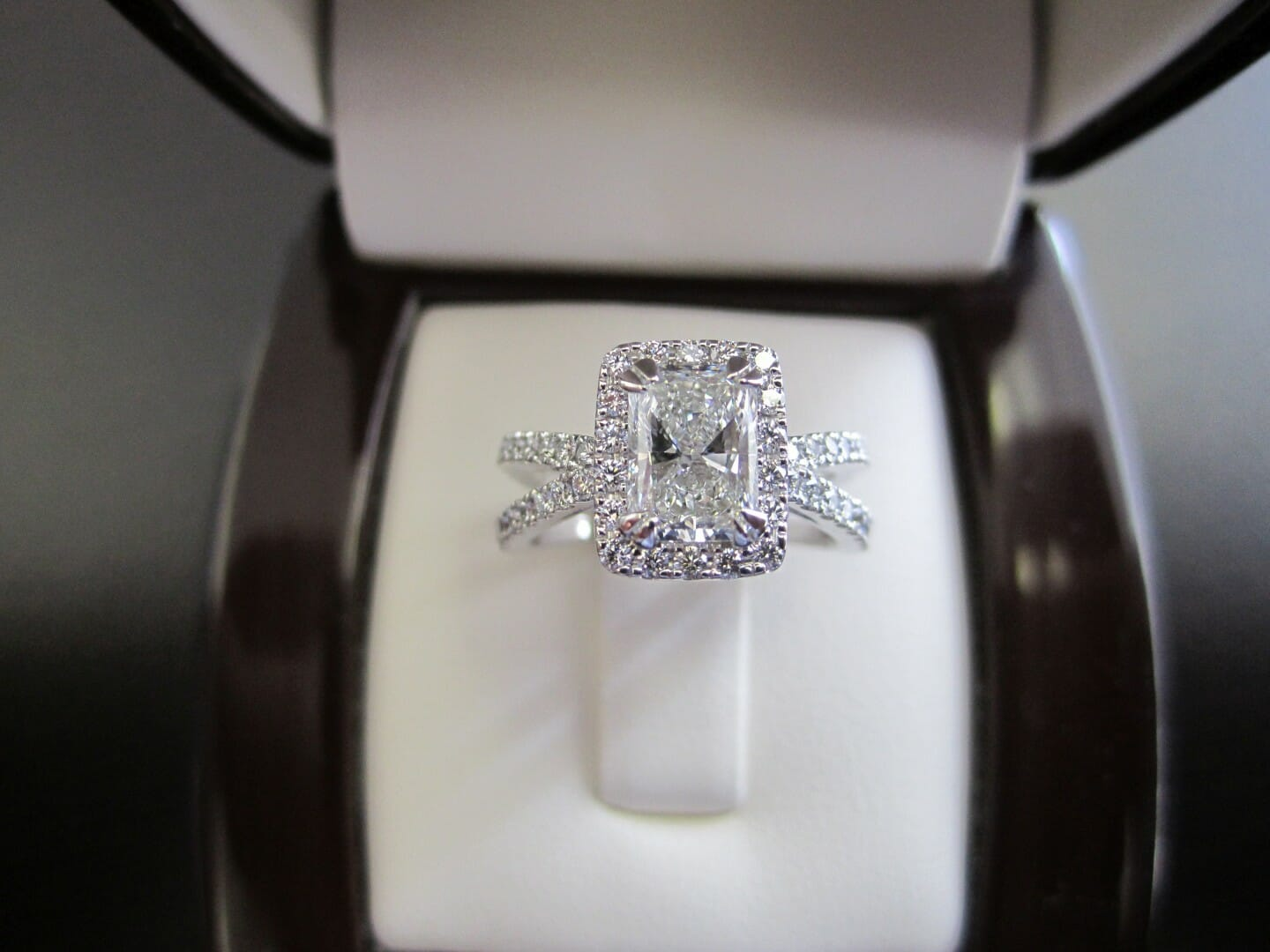 Picture of 1.01ct Radiant Cut Diamond in a Custom Engagement Ring with 0.58ctw of Accent Diamonds