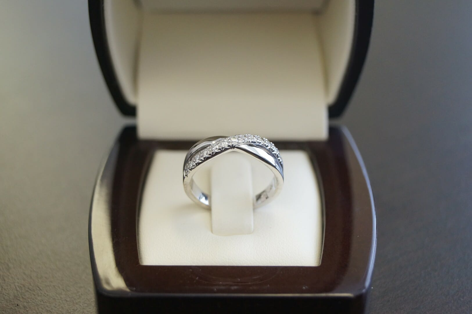 Picture of Diamond Wedding Band with Crossover Design in 19K White Gold
