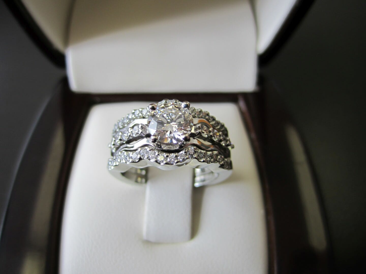 Picture of Custom Designed Bridal Set in 19K White Gold in Jacket Style Setting
