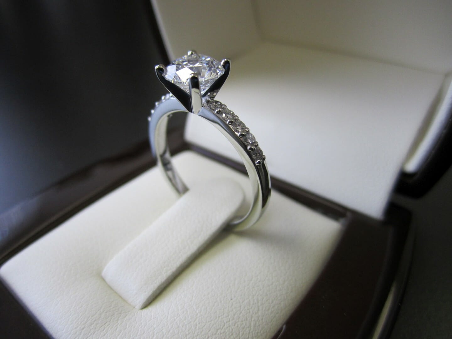 Picture of Custom Designed 19K White Gold Engagement Ring with Approx. 0.20ctw of Accent Diamonds