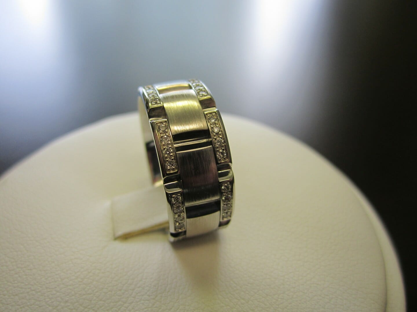Picture of Custom Made Men's Wedding Band in 19k White Gold with Pave Diamonds