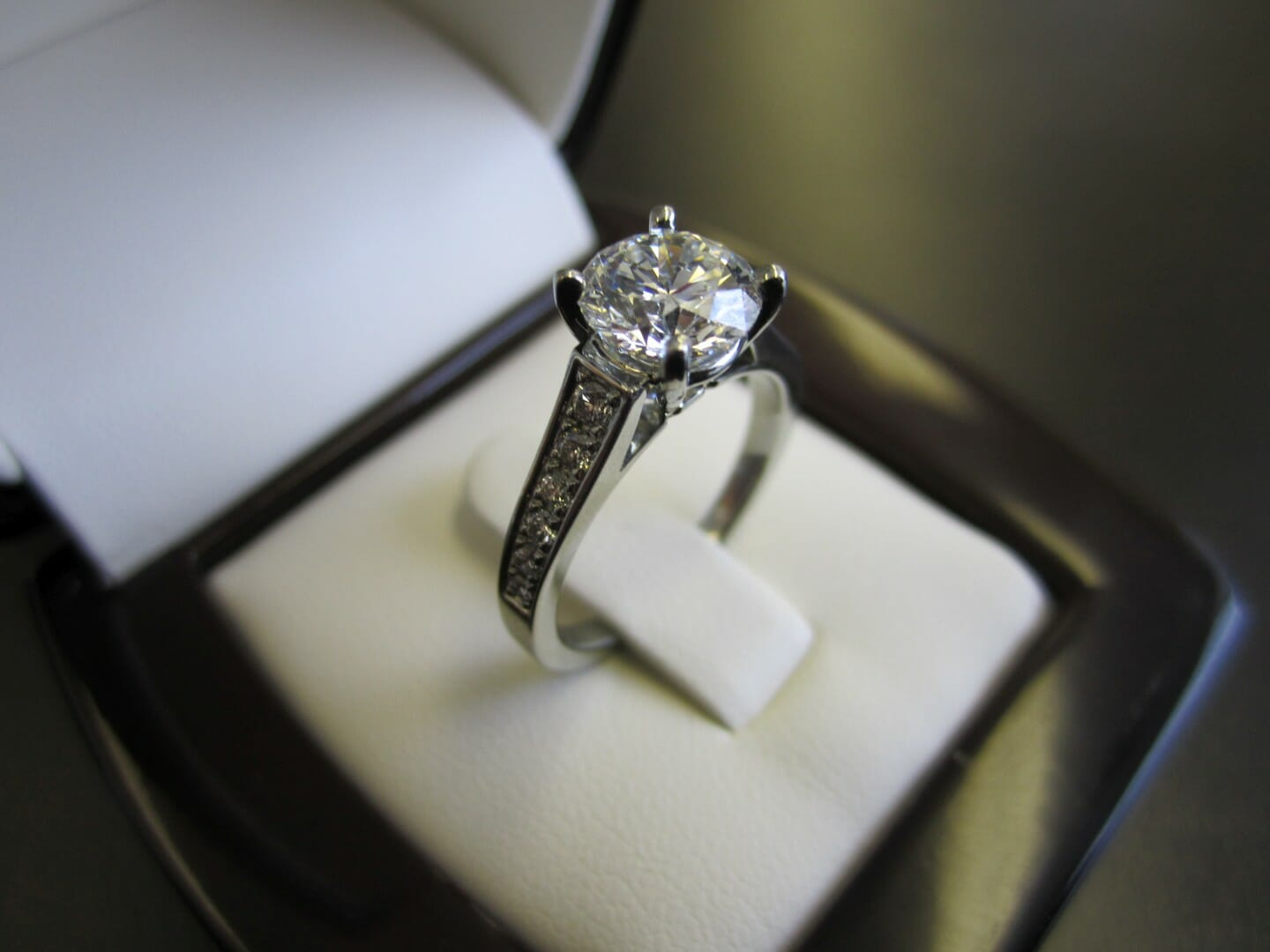 Picture of 1.55ct Round Brilliant Diamond with a Pave Set 19K White Gold Engagement Ring