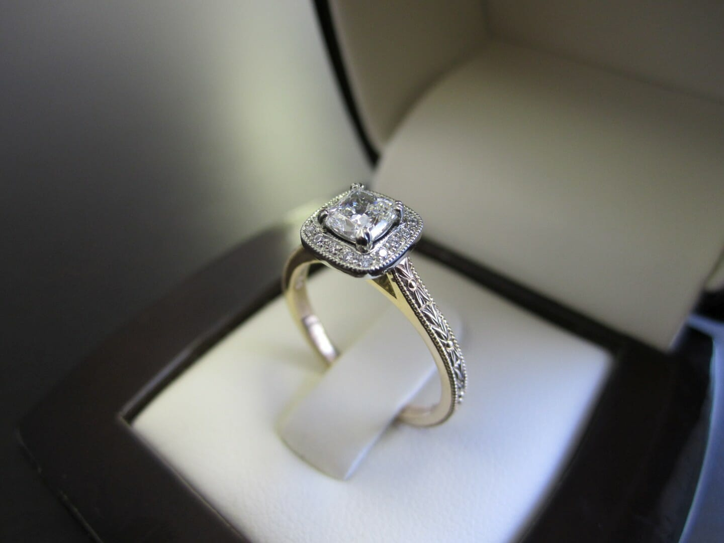 Picture of Custom Halo Engagement Ring with Hand Engraving and Two-Tone Yellow and White Gold