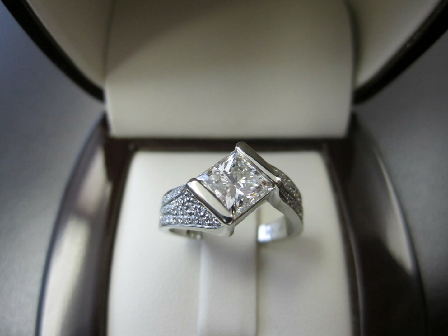Picture of 1.5ct Princess Cut Diamond in a Custom Designed Pave Engagement Ring