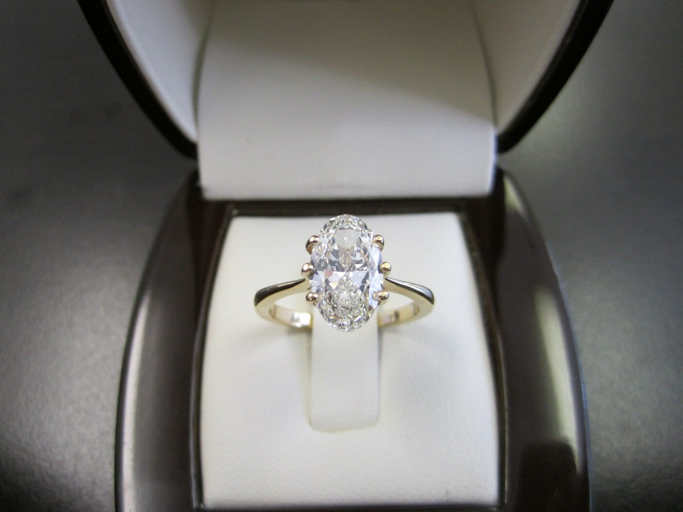 Picture of 2.13 Carat Oval Set in 18k Yellow Gold Solitaire
